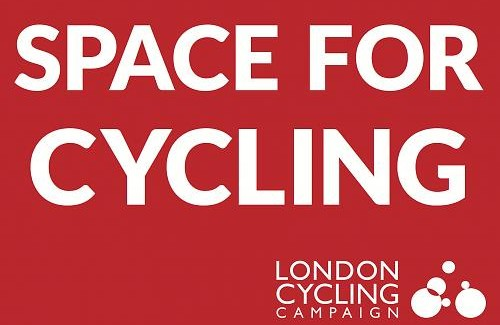 Red logo with white type: Space for Cycling