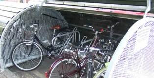 Open bike hangar with bikes inside