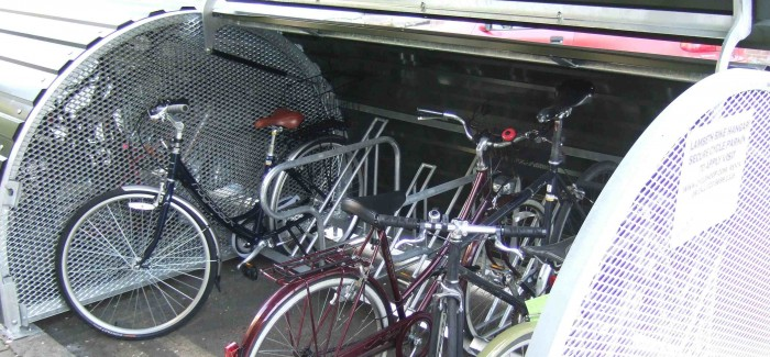 Open bike hangar with bikes inside