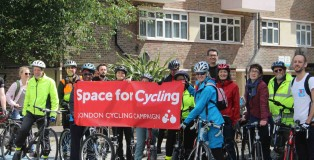 Cyclists with Space for Cycling banner