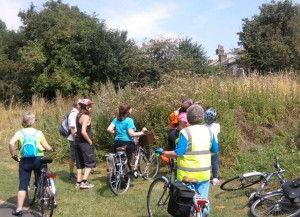 Healthy Riders spotting butterflies in Burgess Park