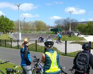 Watching BMX riders in Burgess Park