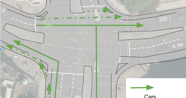 A plan of the junction with space for cycling