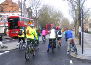 Riders starting North-South CSH, St Georges Rd