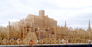 Wooden model of pre-fire London, ready for burning!