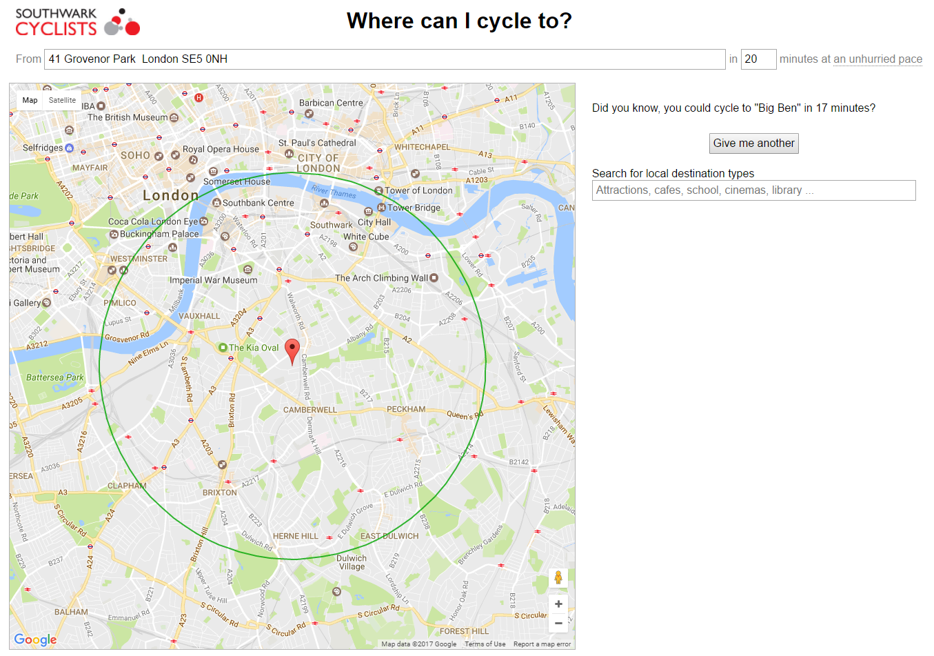 Screenshot of Where Can I Cycle To page