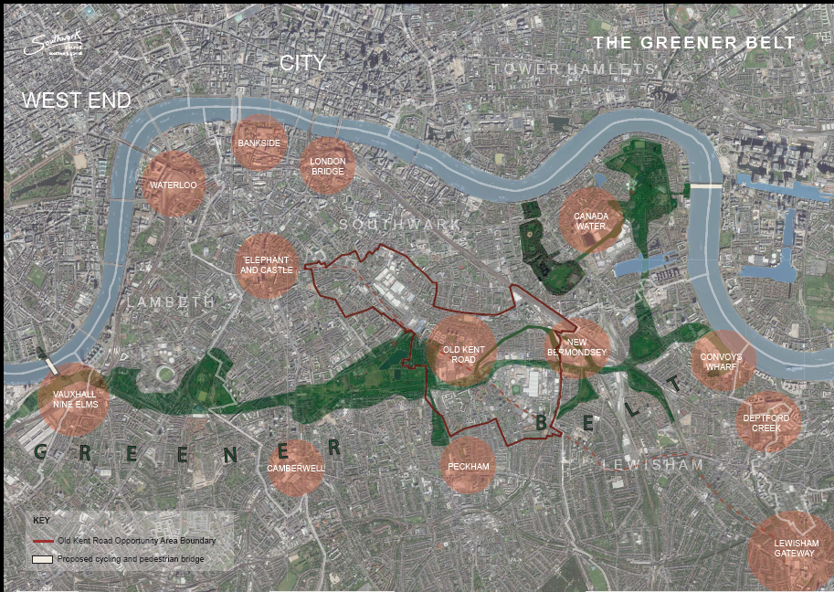 Image depicting green space between Vauxhall and Convoy's Wharf, with parks linked together by new green links