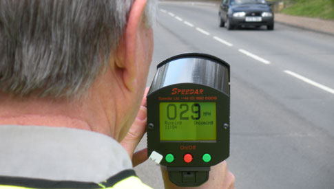 Point a speed gun at a speeding driver