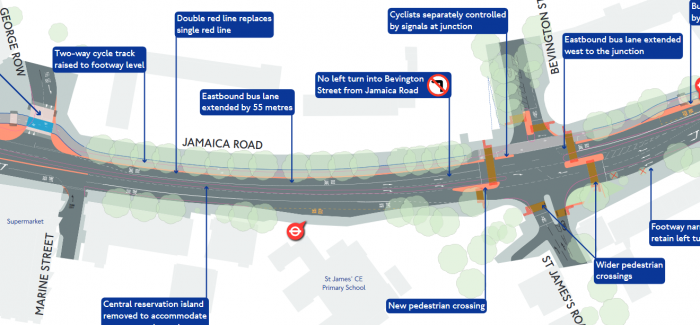 False claims that Cycleway 4 construction will remove bus lanes from Jamaica Rd. Scotch them now.